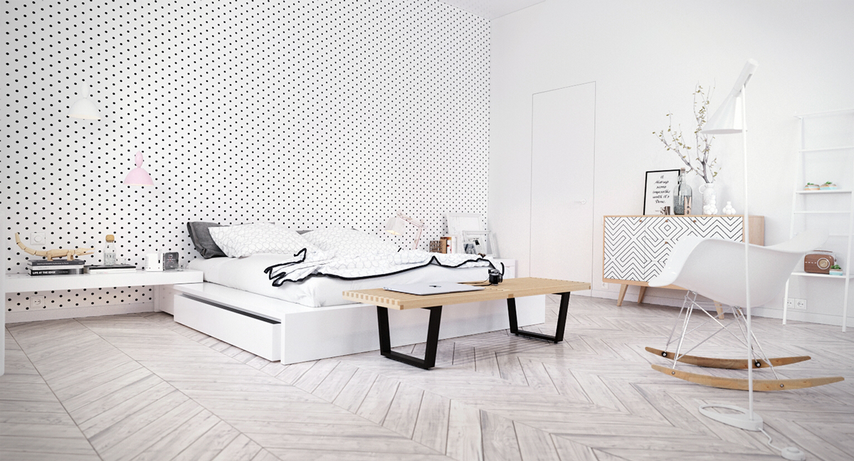 Luxury bedroom interior with concrete and wooden walls,